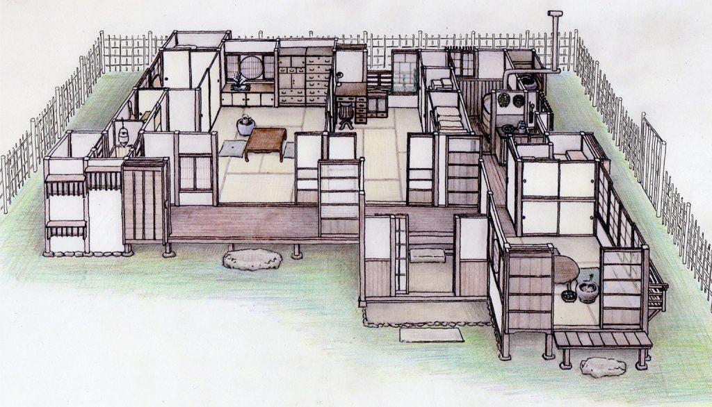 昭和初期の木造日本家屋:イラスト
